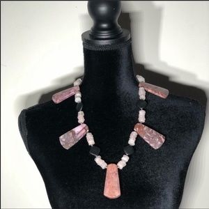 Handmade Glass and Stone Statement Necklace NWOT